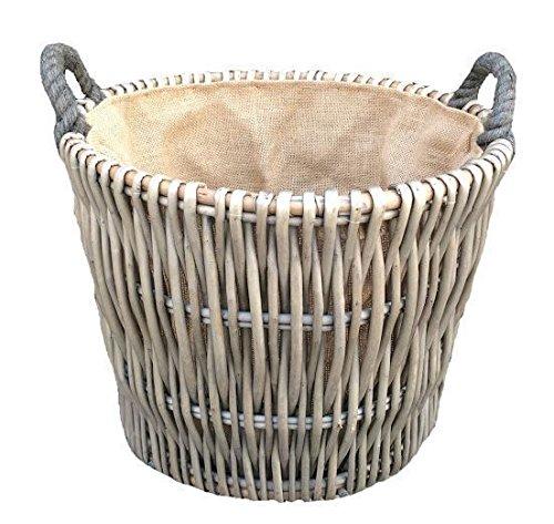 Small Round Grey Log Wicker Basket