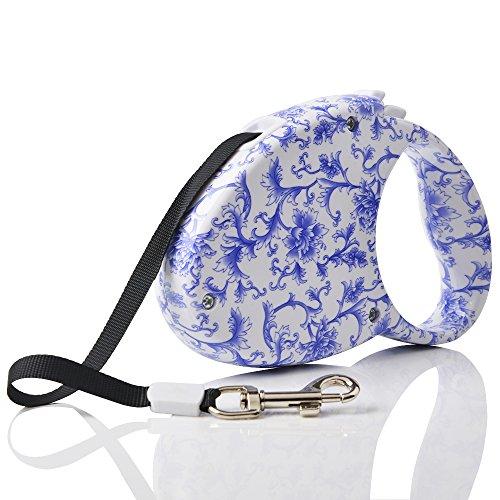 RayLineDo Blue Camellia 3M Automatic Retractable/Extendable Lightweight Pet Dog Leash Nylon Durable Lead