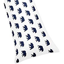 Sweet Jojo Designs Navy Blue and White Body Pillow Case Cover for Big Bear Collection (Pillow Not Included)