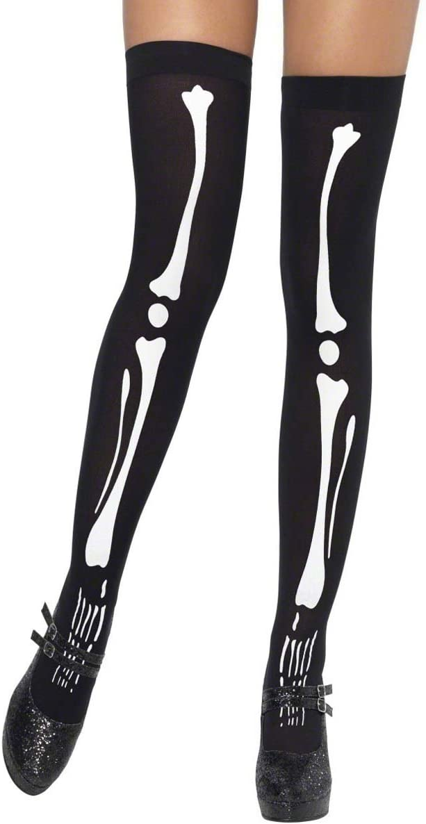 Skeleton Bones Printed Hold Ups Stockings Halloween Fancy Dress