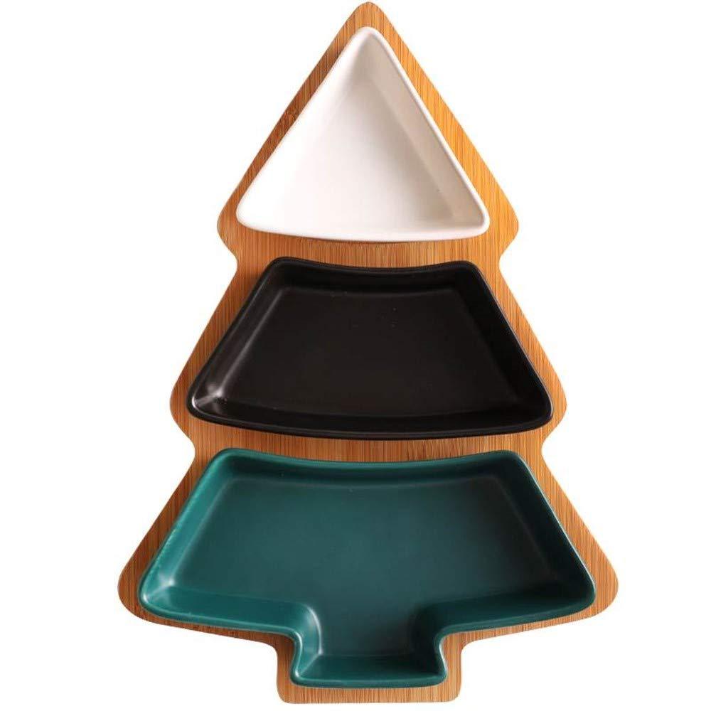 Appetizer Plates クッキージュエリー トレイ デザート皿 磁器 サービングプレート 竹製トレイ 結婚式 ベビーシャワー パーティー 新築祝いギフト Tree Design Tree Design  B07JH5PB11