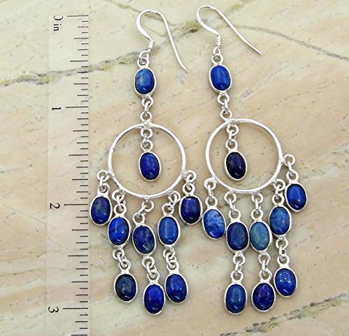 9.62gms,22.00 ctw Genuine Lapis Lazuli .925 Silver Plated Handmade Fashion Earrings Jewelry