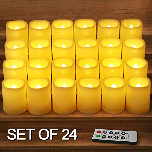 HOME MOST Set of 24 LED Votive Candles with Timer and Remote (IVORY) - LED Flickering Flameless Votive Candles Battery Operated - Wedding Votive Candles Bulk Rustic Wedding Decorations Reception Table (Winter Votive Candles)