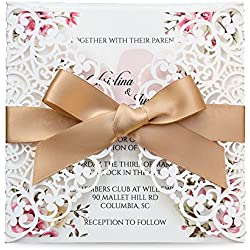 Doris Home Square Wedding Invitations Cards Kits Fall Bridal, Baby Shower Invite, Birthday Invitation Wedding Rehearsal Dinner Invites, Autumn Engagement Bach with Gold Bowknot Hollow,50pcs,W0004GC