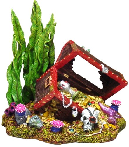 - Exotic Environments Sunken Treasure Chest Aquarium Ornament, Small, 5-1/2-Inch by 4-Inch by 5-1/4-Inch