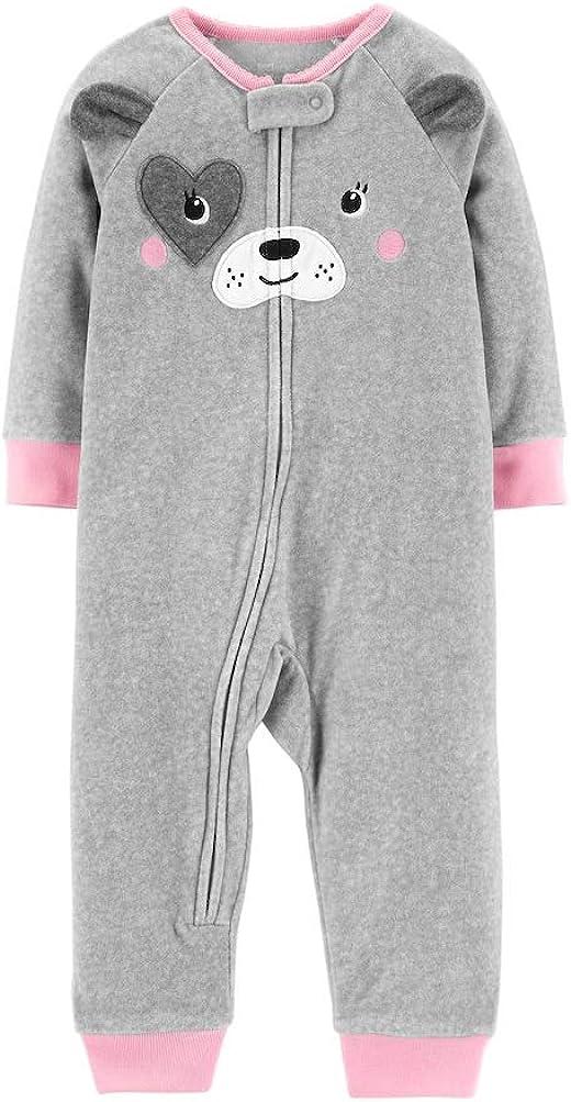 Carters Baby Girl Gray Puppy Dog Microfleece Coveralls Pajamas