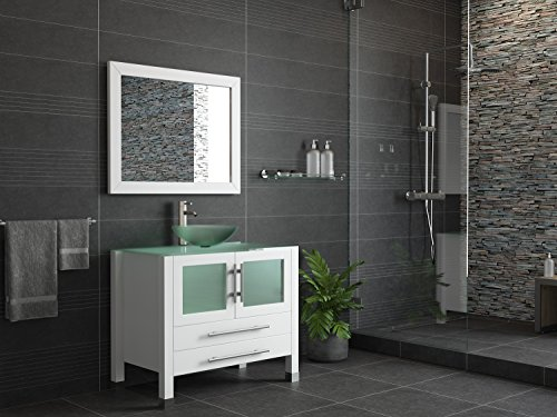36 Wood Glass Vessel Sink Bathroom Vanity Set w Brushed Nickel Faucet- Sophia