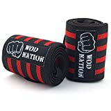 Wrist Wraps by WOD Nation - Wrist Support Braces - Fits Both Men & Women - Strength Training, Weightlifting, & Powerlifting + FREE Carrying Bag Included (18 Inch - Black/Red)