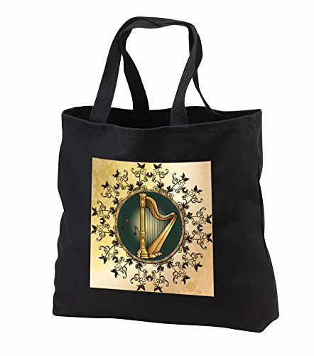 Heike Köhnen Design Music - Wonderful golden harp with key notes and flowers - Tote Bags - Black Tote Bag JUMBO 20w x 15h x 5d (tb_243088_3)