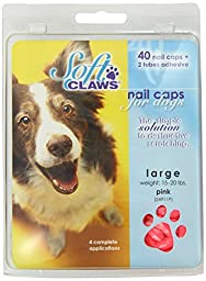 Canine Soft Claws Dog and Cat Nail Caps Take Home Kit, Large, Pink