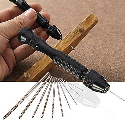 Drillpro Mini Micro Hand Drill Bit with 10 Twist Drills Rotary Tools