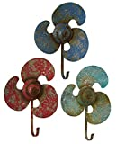 Midwest-CBK Propeller Shaped Single Wall Hooks Set of 3 Red Blue Teal Rustic Finish