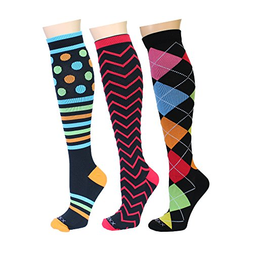 ry Compression Socks for Men & Women Athletic Fit for Running, Sports, Flight Travel, Nurses, Shin Splints, Diabetic, Varicose Veins, Maternity (15-20mmHg) (L/XL, 3PACK-5) ()