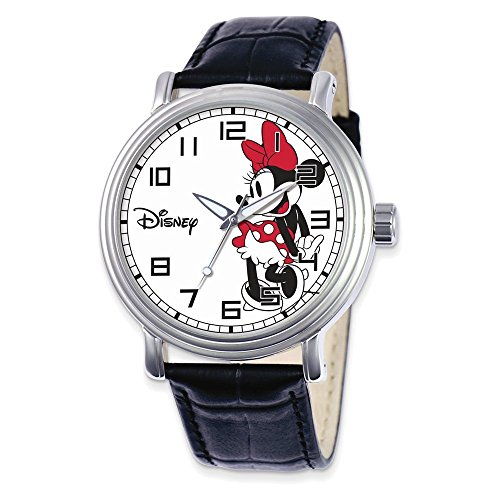 Jewelry Adviser Watches Disney Adult Size Black Leather Strap Minnie Mouse Watch