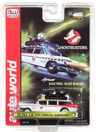 Auto World 4Gear Ghostbusters Ecto 1a 1959 Cadillac Ambulance HO Scale Slot Car ()