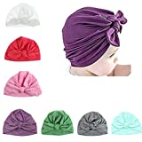 Udobuy7 Pcs Headband Updated Version Baby Hat- Newborn Baby Girl Soft Cute Turban Knot Rabbit Hospital Hat (7 Pcs Set)