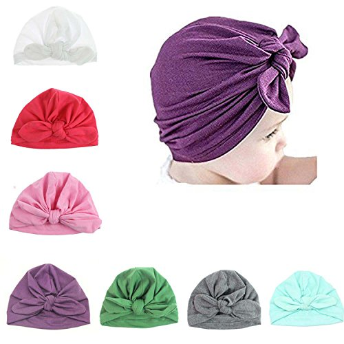 Udobuy7 Pcs Headband Updated Version Baby Hat- Newborn Baby Girl Soft Cute Turban Knot Rabbit Hospital Hat (7 Pcs Set) (Pink Crochet Hot Beanie)