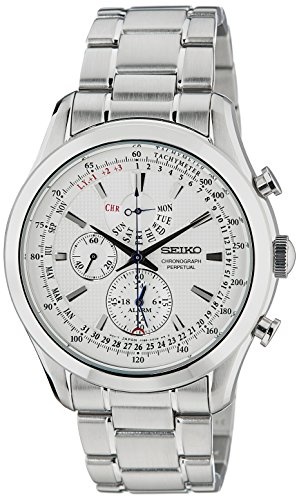 (Seiko regular SPC123 44mm Silver Steel Bracelet & Case Hardlex (used for Seiko only) Men's Watch)