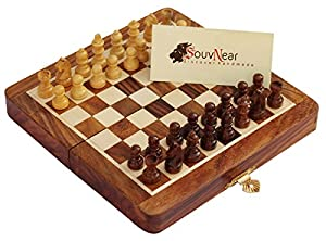 "SouvNear Chess Set 7x7"" Folding Standard Magnetic Travel Chess Board Game Handmade in Fine Rosewood with Storage for Chessmen"