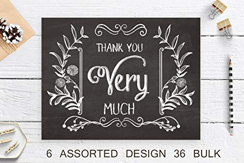 SUPHOUSE Retro Chalkboard Thank You Cards with Envelopes 36 Bulk Boxed Set. Assorted Rustic Thank You Notes for Wedding, Graduation, Baby Shower. 6 Assorted Vintage Design Blank On the Inside Photo #5