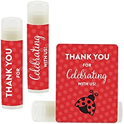 Andaz Press Lip Balm Birthday Party Favors, Thank You for Celebrating with Us, Ladybug, 12-Pack