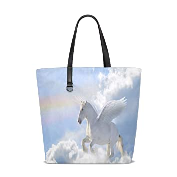 Amazon.com | Unicorn Flying Tote Bag Purse Handbag Womens ...
