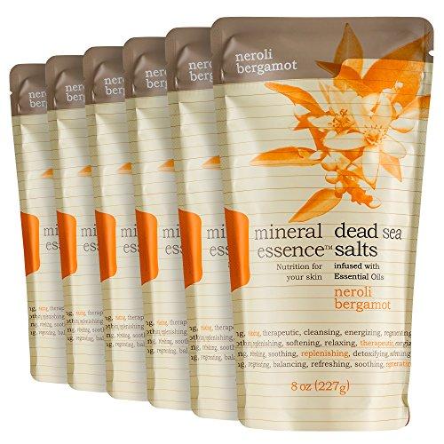 Mineral Essence Neroli Bergamot Scented Dead Sea Salt   8 Oz Pouches  Pack Of 6