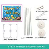 5 ft x 5 ft Balloon Grids Wall Backdrop Frame For Birthday Party - 1.5M 1.5M (WH)