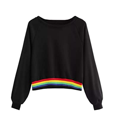 59d6b5df1896 KIMODO Pullover Damen Lang Herbst Winter Rainbow Patchwork O Hals  beiläufige Sweatshirts Kapuzenpullover Hoodie Kapuzenjacke Bluse Tops Mode  2019  ...