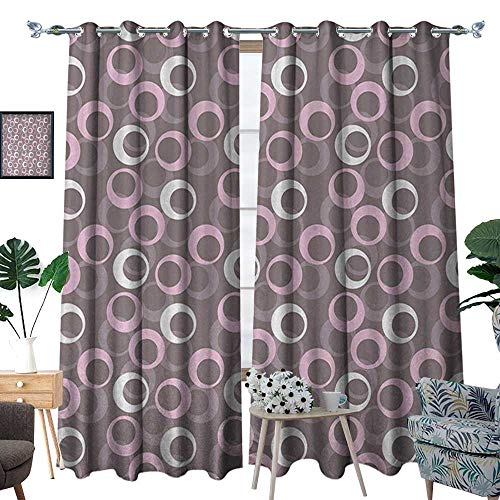 - RenteriaDecor Geometric Patterned Drape for Glass Door Circular Oval Round Pattern Vintage Traditional Design with Soft Tones Waterproof Window Curtain W108 x L96 Warm Taupe Pink Cream
