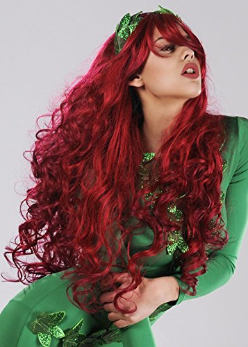 [Ladies Long Red Wavy Poison Ivy Style Wig] (Red Poison Ivy Wig)