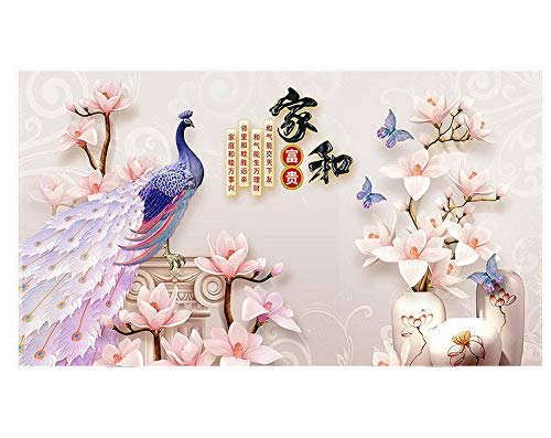 Gentle Meow Home Creative 50-Inch TV Cloth Decorative Dustproof Cover, Peacock and Magnolia ()