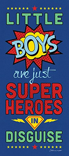 (8x18 Little Boys Are Just Super Heroes In Disguise Unframed Art Print Comic Book Inspired Boy's Children's Room Home Wall)