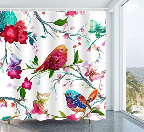 Get Orange Embroidery Bird Shower Curtain Watercolor Bird Butterfly and Flower Leaf Branch Embroidery Fabric Bathroom Shower Curtain 72X72 Inch