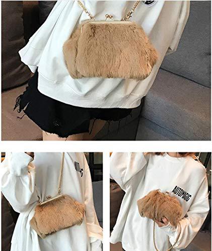 Sacchetto Myydd Bag Di Mini Signore Brown Personalizzato Lunghi Shell Diagonale Borsa beige Pelliccia Peluche Capelli ZfXwZx
