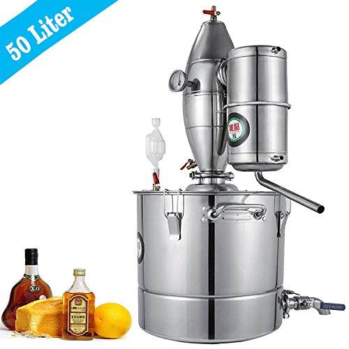 VEVOR 50L 13.2Gal Water Alcohol Distiller 304 Stainless Steel Alcohol Distiller Home Kit Moonshine Wine Making Boiler with Thermometer (50L (Boiler Kit)