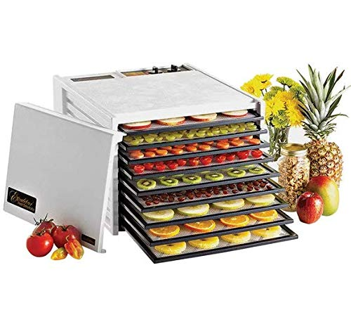 Excalibur 3926TW 9-Tray Electric Food Dehydrator with Temperature Settings and 26-hour Timer Automatic Shut Off for Faster and Efficient Drying Includes Guide to Dehydration Made in USA, 9-Tray,White from Excalibur