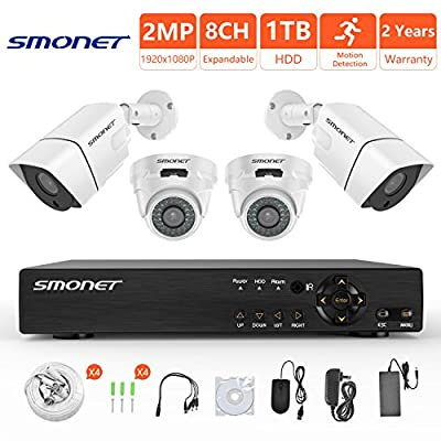 [FULL HD]Security Camera System 1080P,SMONET 8 Channel 2MP Outdoor/Indoor Surveillance System(1TB Hard Drive),6pcs 1080P Weatherproof Security Cameras,65ft Night Vision,P2P, Free APP,Easy Remote View by SMONET
