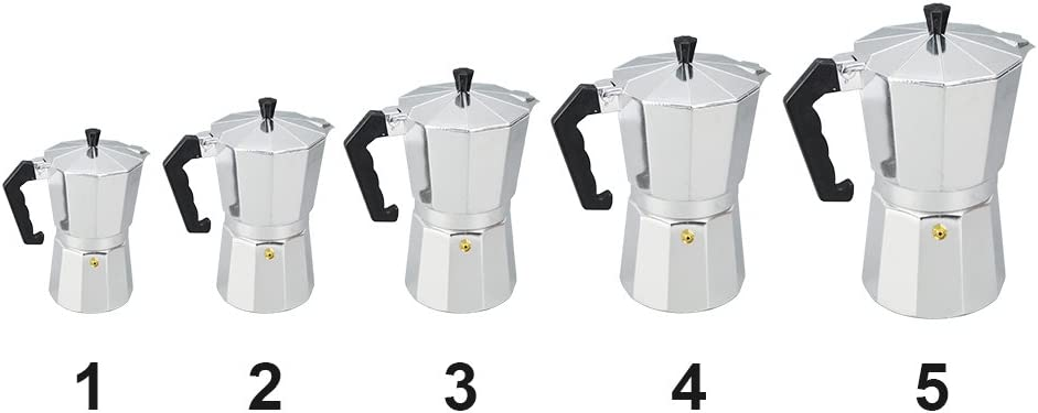 Cafetera de caf/é moca cafetera italiana para espresso de aluminio estufa superior Macchinetta para estufa de caf/é de cuerpo completo 50 ml plateado // negro 1//3//6//9//12 tazas caf/é moca