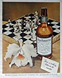 Old Forester Whiskey, 40's Print Ad. Full Page Color Illustration (chess board, flower) Original Vintage 1946 Collier's Magazine Print Art