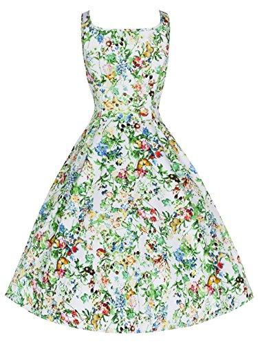 40 's - 50 's Style Vintage col de découpe Motif Papillon Floral Full Circle fête de robe de demoiselle d'honneur