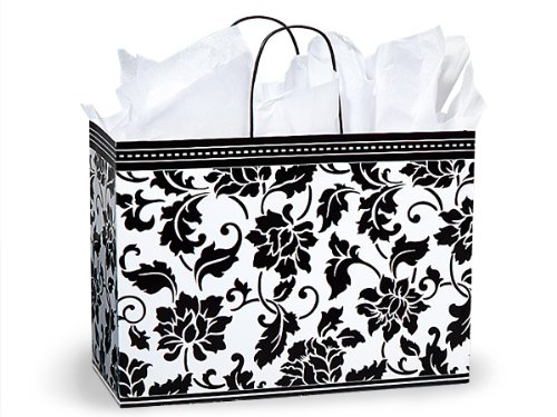 Pack Of 250, Vogue 16 x 6 x 12.5'' Floral Brocade Gloss Paper Shopping Bags Made In USA by Generic