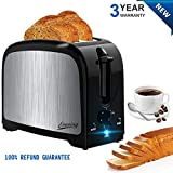 Evening 2 Slot Best Rated Prime Compact Toaster for Two Slice Bread with Pop Up Reheat Defrost Functions Removable Crumb Tray, Black Review