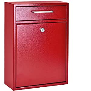 Mail Boss 7426 High Security Steel Locking Wall Mounted Mailbox, Office Drop Box, Comment Box, Letter Box, Deposit Box, Red