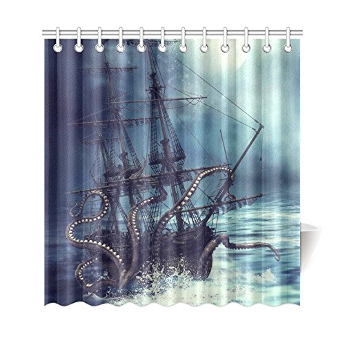 Curtain Pirate (InterestPrint Pirate Ship Octopus Custom Shower Curtain 69 X 72 Inches Waterproof Polyester Fabric Bathroom Sets Home)