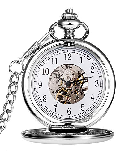 (Hicarer Vintage Analog Mechanical Pocket Watch with Chain (Silver))