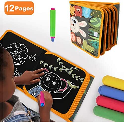 TUMAMA Portable Drawing Board for Travel,Dust-Free Chalk Doodle Board Book ,Early Educational Baby Toys Gift for Boys Girls,Toddlers and Kids 1 2 3 4 5 6 Years Old