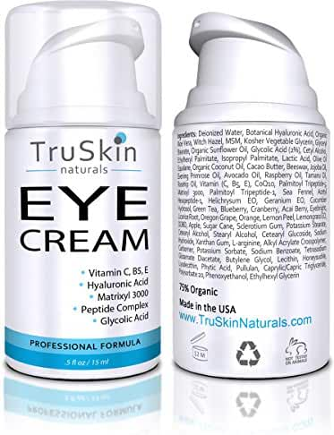 Eye Cream for Wrinkles, Dark Circles, Fine Lines, Puffiness, Crows Feet, Bags - 75% ORGANIC, With Vitamin C, E, B5, Hyaluronic Acid, Peptides, Anti Aging