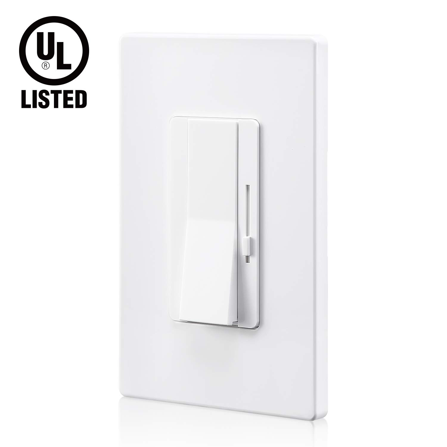 TORCHSTAR 3-Way/Single Pole Dimmer Switch with Slider, UL Listed 0-10V Wall Dimmer, On/Off Rocker Switch, for Controlling LED Lights