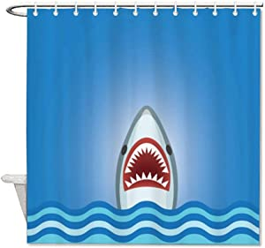 yyone Fabric Shower Curtain with Hooks- Shark with Waves, Funny Shower Curtain Waterproof Mould Proof Resistant for Bathroom with 72